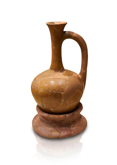 Hittite terra cotta long necked pitcher on base. Hittite Empire, Alaca Hoyuk, 1450 - 1200 BC. Alaca Hoyuk. Çorum Archaeological Museum, Corum, Turkey. Against a white bacground.