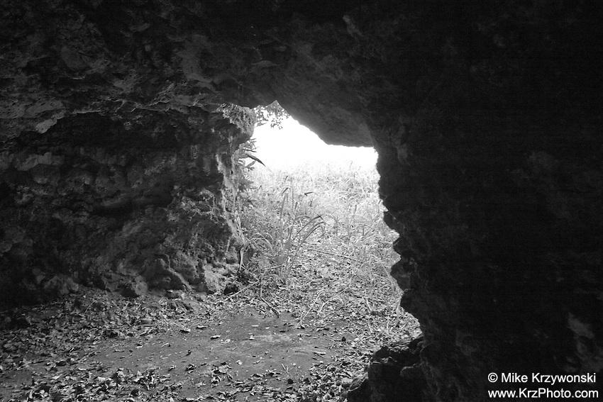Cave above Waimea Bay, North Shore, Oahu, Hawaii