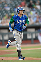 Left fielder Eric Cole (3) of the Lexington Legends runs toward first base in a game against Columbia Fireflies on Thursday, June 13, 2019, at Segra Park in Columbia, South Carolina. Lexington won, 10-5. (Tom Priddy/Four Seam Images)