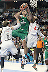 Real Madrid's Andres Nocioni (l) and Marcus Slaughter (r) and Panathinaikos Athens' Esteban Batista during Euroleague match.January 22,2015. (ALTERPHOTOS/Acero)
