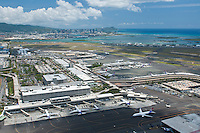 Aerial of Honolulu Int'l Airport with Diamond Head in the distance