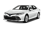 2019 Toyota Camry Premium 4 Door Sedan angular front stock photos of front three quarter view