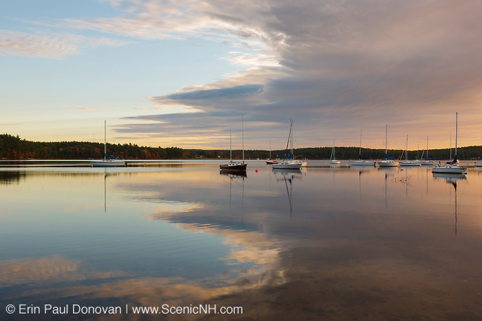 Lake Massabesic in Auburn, New Hampshire USA at sunrise on a cloudy day.