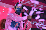 Race leader Egan Bernal (COL) Ineos Grenadiers retains the Maglia Rosa at the end of Stage 17 of the 2021 Giro d'Italia, running 193km from Canazei to Sega Di Ala, Italy. 26th May 2021.  <br /> Picture: LaPresse/Marco Alpozzi   Cyclefile<br /> <br /> All photos usage must carry mandatory copyright credit (© Cyclefile   Marco Alpozzi/LaPresse)