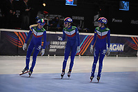 SPEEDSKATING: DORDRECHT: 06-03-2021, ISU World Short Track Speedskating Championships, SF 3000m Relay, Martina Valcepina (ITA), Cynthia Mascitto (ITA), Arianna Valcepina (ITA), ©photo Martin de Jong