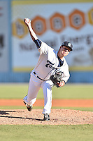 Asheville Tourists pitcher James Lomangino (36) delivers a pitch during game one of a double header against the Hickory Crawdads on April 21, 2015 in Asheville, North Carolina. The Crawdads defeated the Tourists 10-1. (Tony Farlow/Four Seam Images)