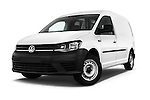 Stock pictures of low aggressive front three quarter view of 2016 Volkswagen Caddy Maxi Van - 5 Door Car Van Low Aggressive