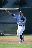 Zack Gahagan (10) of the North Carolina Tar Heels makes a throw during a game against the UCLA Bruins at Jackie Robinson Stadium on February 20, 2016 in Los Angeles, California. UCLA defeated North Carolina, 6-5. (Larry Goren/Four Seam Images)