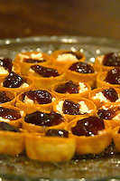 Mini bouchees canapees croustades filo tartlets filled with French goat cheese chevre and fig jam served as appetizer Clos des Iles Le Brusc Six Fours Cote d'Azur Var France