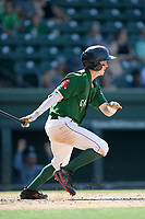 Shortstop Grant Williams (4) of the Greenville Drive bats in a game against the West Virginia Power on Sunday, May 19, 2019, at Fluor Field at the West End in Greenville, South Carolina. Greenville won, 8-4. (Tom Priddy/Four Seam Images)