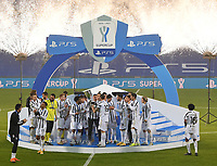 Football: Super Cup Final Juventus vs Napoli at Mapei Stadium in Reggio Emilia, on January 20,  2021.<br /> Juventus' players celebrate after winning 2-0  the Italian Super Cup Final match between Juventus and Napoli at Mapei Stadium in Reggio Emilia, on January 20,  2021.<br /> UPDATE IMAGES PRESS/Isabella Bonotto
