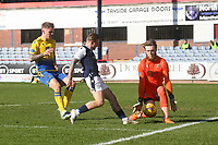 3rd April 2021; Dens Park, Dundee, Scotland; Scottish FA Cup Football, Dundee FC versus St Johnstone; St Johnstone goalkeeper ZanderClark saves at the feet of Jason Cummings of Dundee