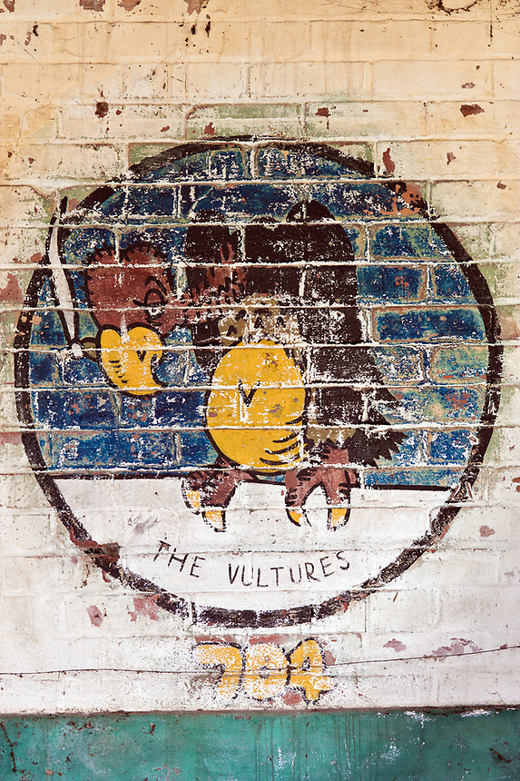 ©Si Barber 07739 472 922. <br /> A mural depicting the emblem of 704 Squadron, 446th Bomber Group  in derelict buildings at former US Air Force base RAF Flixton, Suffolk.<br /> <br /> USAGE TERMS: ONE USE IN PRINT AND ONLINE. NO SYNDICATION, RETENTION, OR THIRD PARTY SALES. MINIMUM FEES APPLY