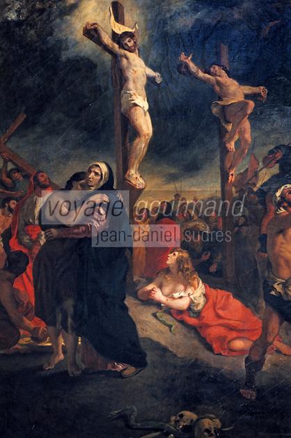 """Europe/France/Bretagne/56/Morbihan/Vannes: Musée de la Cohue (Musée des Beaux-Arts) - """"La Crucifixion"""" (1835) d'Eugène Delacroix"""