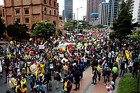 BOGOTA, COLOMBIA - APRIL 28 : Hundreds of people protest during a national strike Against the Duque package and the tax reform on April 28, 2021 in Bogota, Colombia. Colombia has the minimum wage around $ 250 per month where people are unhappy about corruption, unemployment, and inequality by Government. (Photo by Leonardo Munoz/VIEWpress)