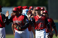 Nick Snyder (25) of the Hickory Crawdads high fives teammates following the win over the Greensboro Grasshoppers at L.P. Frans Stadium on May 26, 2019 in Hickory, North Carolina. The Crawdads defeated the Grasshoppers 10-8. (Brian Westerholt/Four Seam Images)