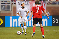 7 June 2011: USA Men's National Team midfielder Landon Donovan (10) dribbles the ball at Canada midfielder Terry Dunfield (7) during the CONCACAF soccer match between USA and Canada at Ford Field Detroit, Michigan. USA won 2-0.
