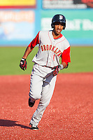 Amed Rosario (1) of the Brooklyn Cyclones rounds the bases after hitting a home run against the Hudson Valley Renegades at Dutchess Stadium on June 18, 2014 in Wappingers Falls, New York.  The Cyclones defeated the Renegades 4-3 in 10 innings.  (Brian Westerholt/Four Seam Images)