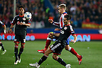 Atletico de Madrid´s Griezmann and Bayer 04 Leverkusen´s Spahic during the UEFA Champions League round of 16 second leg match between Atletico de Madrid and Bayer 04 Leverkusen at Vicente Calderon stadium in Madrid, Spain. March 17, 2015. (ALTERPHOTOS/Victor Blanco)