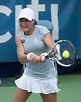 July 19,2016:   Monica Niculescu (ROU) loses to Christina McHale (USA) 6-3, 6-4, at the Citi Open being played at Rock Creek Park Tennis Center in Washington, DC, .  ©Leslie Billman/Tennisclix