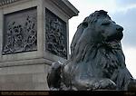 Bronze Lion, Nelson's Column, Battle of the Nile and Battle of Cape St. Vincent Bronze Reliefs, Trafalgar Square, London, England, UK