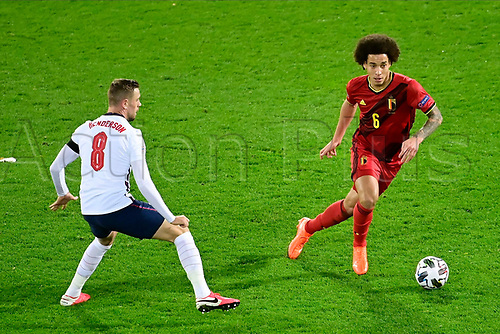 15th November 2020; Leuven, Belgium;  Axel Witsel midfielder of Belgium battles for the ball with Jordan Henderson midfielder of England during the UEFA Nations League match group stage final tournament - League A - Group 2 between Belgium and England