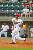 Greeneville Reds outfielder Satchel McElroy (2) at bat during a game against the Bristol Pirates at Pioneer Field on June 19, 2018 in Greeneville, Tennessee. Bristol defeated Greeneville 10-2. (Robert Gurganus/Four Seam Images)