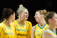 Melbourne, 15 August 2015 - Suzy BATKOVIC and Sara BLICAVS of Australia celebrate their team's win in game one of the 2015 FIBA Oceania Championships in women's basketball between the Australian Opals and the New Zealand Tall Ferns at Rod Laver Arena in Melbourne, Australia. Aus def NZ 61-41. (Photo Sydney Low / sydlow.com)