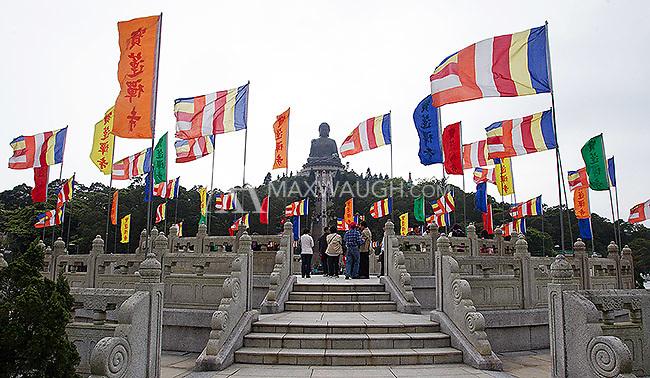 The Tian Tan Buddha, made of bronze, sits on Lantau Island in Hong Kong.