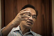 Opposition leader, Dato Seri Anwar Ibrahim speaks reacts to questions during an interview in his office in Kuala Lumpur, Malaysia, on Tuesday, May 14, 2013.