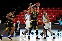 24-03-2021: Basketbal: Donar Groningen v Landstede Hammers: Groningen, Landstede speler Jozo Rados met Donar speler Justin Watts