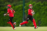 Natural Yip Sze Wan (r) of Hong Kong in action during their ICC 2016 Women's World Cup Asia Qualifier match between China and Hong Kong on 10 October 2016 at the Hong Kong Cricket Club in Hong Kong, China. Photo by Victor Fraile / Power Sport Images