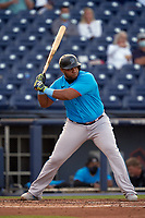 Miami Marlins Jesús Aguilar (24) bats during a Major League Spring Training game against the Washington Nationals on March 20, 2021 at FITTEAM Ballpark of the Palm Beaches in Palm Beach, Florida.  (Mike Janes/Four Seam Images)