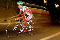COLOMBIA. 16-08-2014. Didier Sastoque ciclista durante la contrarreloj individual nocturna de 17.5 Km en la penúltima etapa de la Vuelta a Colombia 2014 en bicicleta que se cumple entre el 6 y el 17 de agosto de 2014. / Didier Sastoque cyclist during the night individual time trial of 17.5 Km in the penultimate stage of the Tour of Colombia 2014 in bike holds between 6 and 17 of August 2014. Photo:  VizzorImage/ José Miguel Palencia / Str