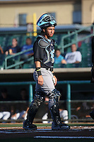 Michael Perez (17) of the Visalia Rawhide in the field at catcher during a game against the Lancaster JetHawks at The Hanger on July 6, 2016 in Lancaster, California. Lancaster defeated Visalia, 10-7. (Larry Goren/Four Seam Images)