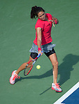Jamie Hampton (USA) loses to Sloane Stephens (USA) 6-1, 6-3 at the US Open being played at USTA Billie Jean King National Tennis Center in Flushing, NY on August 30, 2013