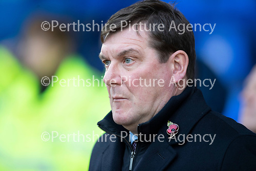 St Johnstone v Hibs…..09.11.19   McDiarmid Park   SPFL<br />Tommy Wright observes the minutes silence<br />Picture by Graeme Hart.<br />Copyright Perthshire Picture Agency<br />Tel: 01738 623350  Mobile: 07990 594431