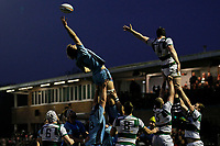 Theo Vukasinovic of London Scottish can't catch the line out throw during the Greene King IPA Championship match between Ealing Trailfinders and London Scottish Football Club at Castle Bar , West Ealing , England  on 19 January 2019. Photo by Carlton Myrie/PRiME Media Images