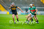 Shane Nolan of Crotta O'Neills about to take possession as Michael Lenihan of Dr Crokes bares down on him in the Senior County Hurling championship, round 2 game.