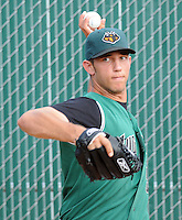 June 5, 2008: Pitcher Madison Bumgarner (5) of the Augusta GreenJackets, Class A affiliate of the San Francisco Giants, prior to a game against the Greenville Drive at Fluor Field at the West End in Greenville, S.C. Photo by:  Tom Priddy/Four Seam Images
