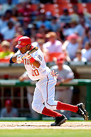 4 September 2005: Brandon Watson, outfielder for the Washington Nationals, lays down a bunt against the Philadelphia Phillies. The Nationals defeated the Phillies 6-1 at RFK Stadium in Washington, DC. Mandatory Photo Credit: Ed Wolfstein.