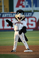 Lancaster JetHawks mascot Kaboom during a game against the Modesto Nuts at The Hanger on May 11, 2017 in Lancaster, California. Lancaster defeated Modesto, 6-0. (Larry Goren/Four Seam Images)