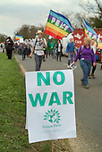 CND marchers approach the Atomic Weapons Establishment (AWE) at Aldermaston on Easter Monday, four days after leaving Trafalgar Square in central London.