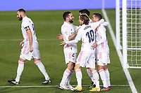 2nd January 2021, Santiago Bernabéu Stadium, Madrid, Spain;  Real Madrids players celebrate their goal from Asensio during a Spanish league football match between Real Madrid and Celta Vigo