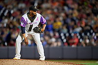 """Akron RubberDucks pitcher Dalbert Siri (45) during an Eastern League game against the Erie SeaWolves on August 30, 2019 at Canal Park in Akron, Ohio.  Akron wore special jerseys with the slogan """"Fight Like a Kid"""" during the game for Akron Children's Hospital Home Run for Life event, the design was created by 11 year old Macy Carmichael.  Erie defeated Akron 3-2.  (Mike Janes/Four Seam Images)"""