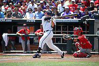 Boomer White #8 of the TCU Horned Frogs bats during Game 3 of the 2014 Men's College World Series between the Texas Tech Red Raiders and TCU Horned Frogs at TD Ameritrade Park on June 15, 2014 in Omaha, Nebraska. (Brace Hemmelgarn/Four Seam Images)