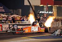 Jun. 17, 2011; Bristol, TN, USA: NHRA top fuel driver Spencer Massey during qualifying for the Thunder Valley Nationals at Bristol Dragway. Mandatory Credit: Mark J. Rebilas-