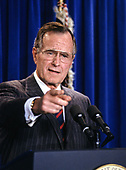 United States President George H.W. Bush speaks to the media in the Press Briefing Room of the White House in Washington, D.C. on December 5, 1991.  The President announced that Samuel Skinner will replace John Sununu as White House Chief of Staff<br /> Credit: Howard L. Sachs / CNP