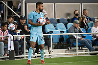 SAN JOSE, CA - AUGUST 17: DJ Taylor #26 of Minnesota United prepares for a throw in during a game between San Jose Earthquakes and Minnesota United FC at PayPal Park on August 17, 2021 in San Jose, California.