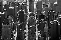 aerial photograph streets skyscrapers Manhattan, New York City